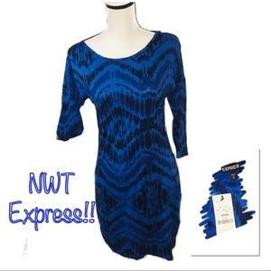 ‼️🔥NWT EXPRESS MidSleeve Blue/Black Dress!🔥‼️